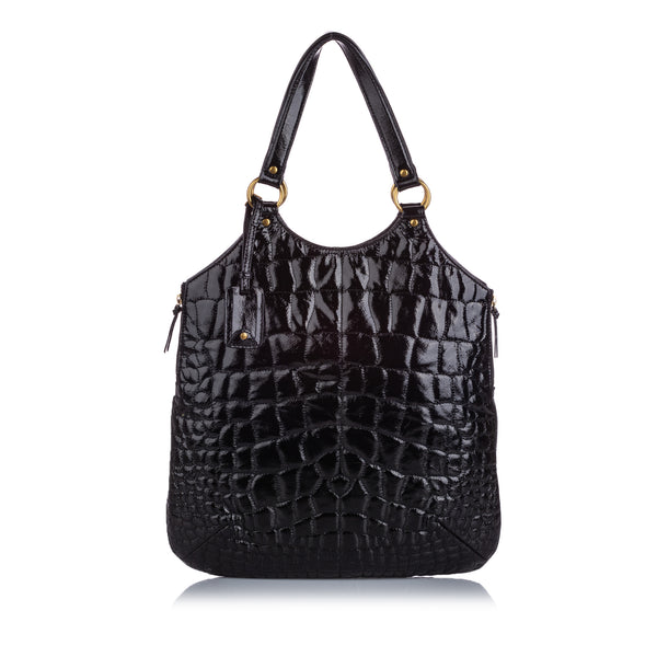 Black YSL Quilted Patent Leather Tribute Tote Bag
