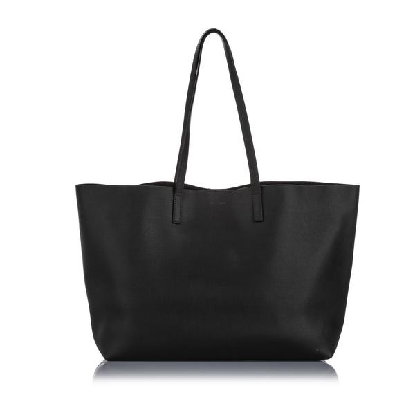 Black YSL East West Leather Shopping Tote Bag