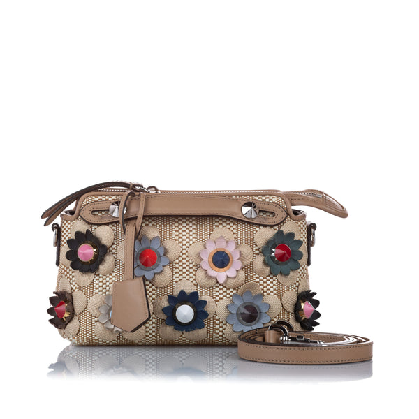 Beige Fendi Mini Flowerland By The Way Straw Satchel Bag