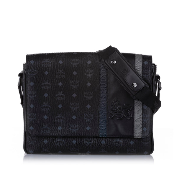 Black MCM Lion Visetos Leather Crossbody Bag
