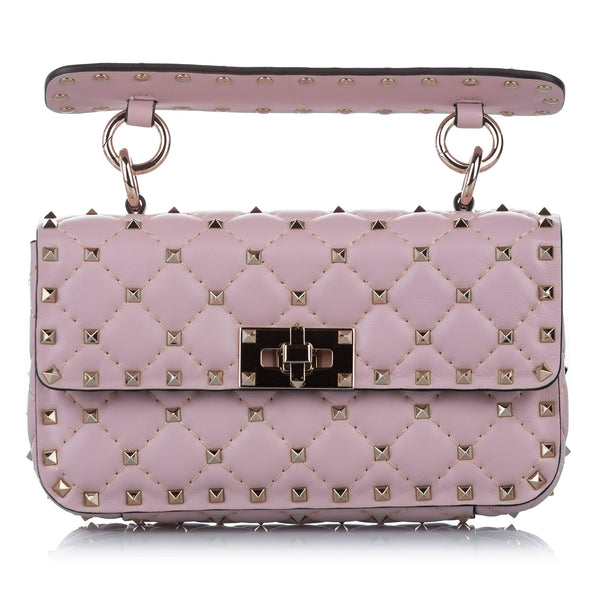 Pink Valentino Rockstud Spike Leather Crossbody Bag