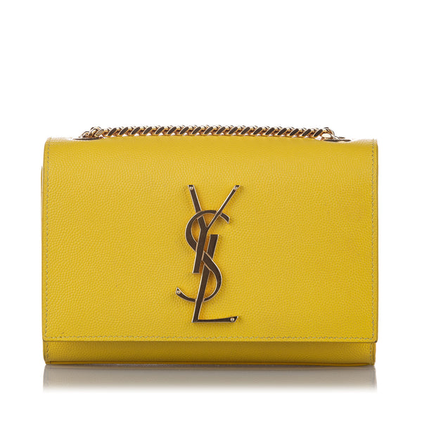 Yellow YSL Monogram Leather Wallet On Chain