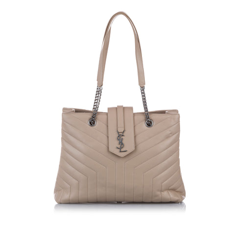 Beige YSL Large LouLou Leather Tote Bag