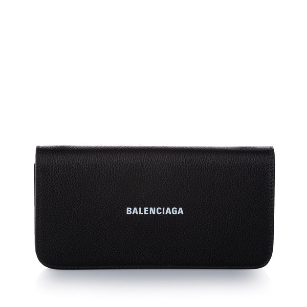 Black Balenciaga Leather Wallet on Chain