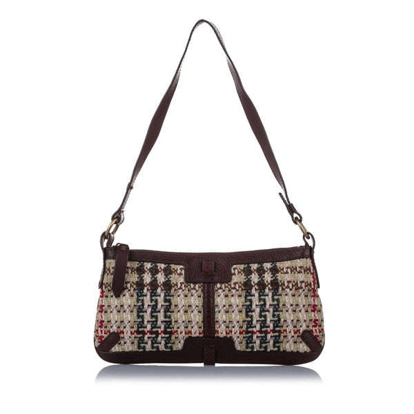 Brown Burberry House Check Tweed Shoulder Bag