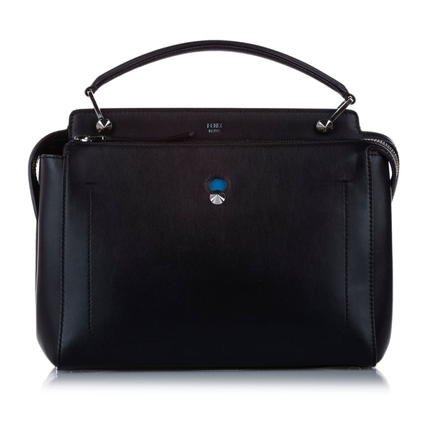 Black Fendi DotCom Leather Satchel Bag