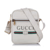 White Gucci Logo Leather Crossbody Bag
