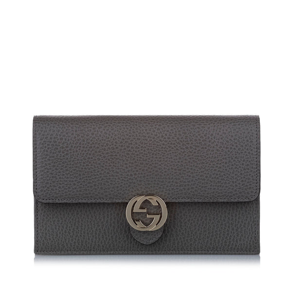 Gray Gucci Interlocking G Leather Wallet on Chain