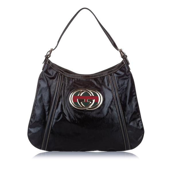 Black Gucci Britt Leather Shoulder Bag