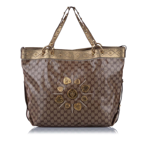 Brown Gucci Babouska GG Crystal Tote Bag