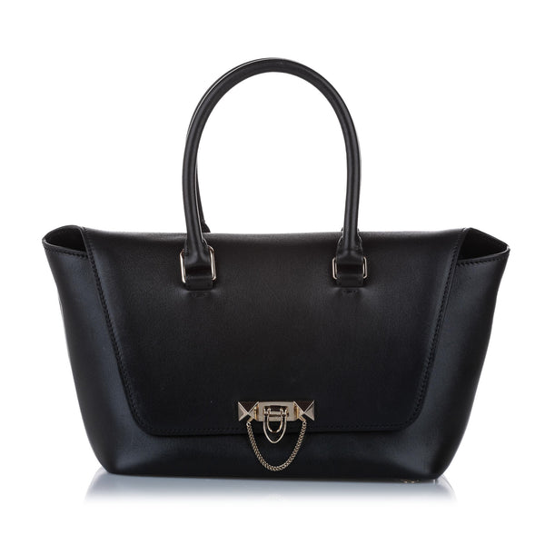 Black Valentino Demilune Leather Satchel Bag