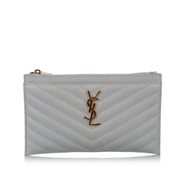 White YSL Monogram Bill Leather Pouch