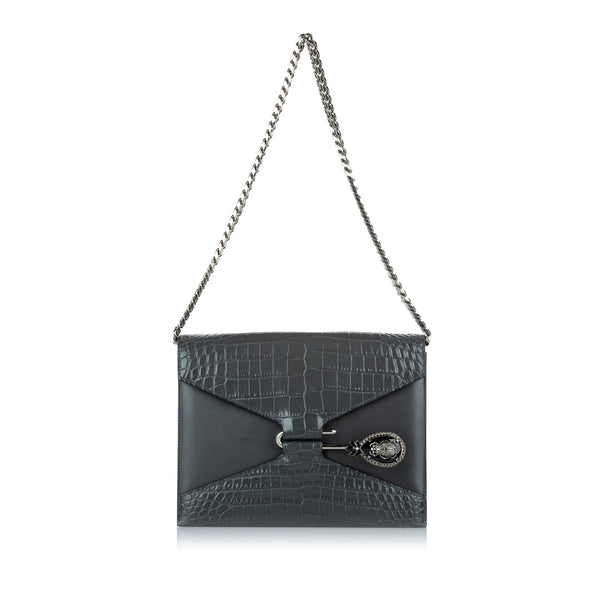 Black Alexander McQueen Pin Envelope Leather Shoulder Bag