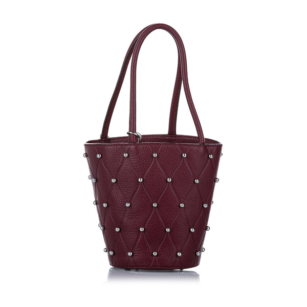 Red Alexander Wang Roxy Studded Leather Bucket Bag