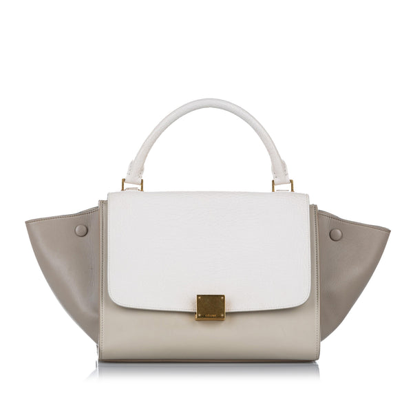 White Celine Trapeze Leather Satchel Bag