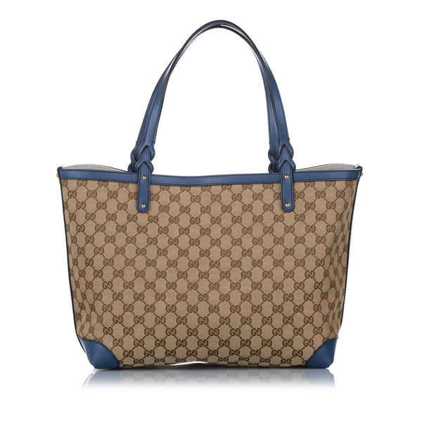 Brown Gucci GG Canvas Craft Tote Bag