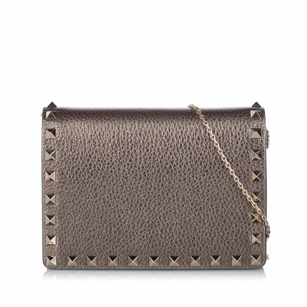 Brown Valentino Rockstud Leather Crossbody Bag