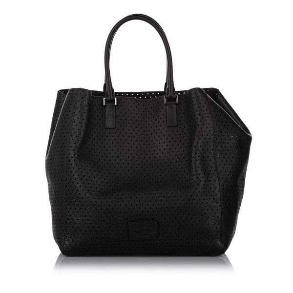 Black Valentino Perforated Leather Tote Bag