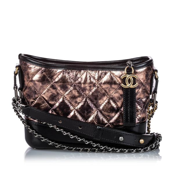 Bronze Chanel Small Leather Gabrielle Crossbody Bag
