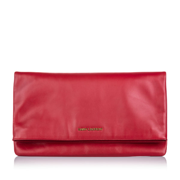Red Yves Saint Laurent Leather Fold Over Clutch Bag