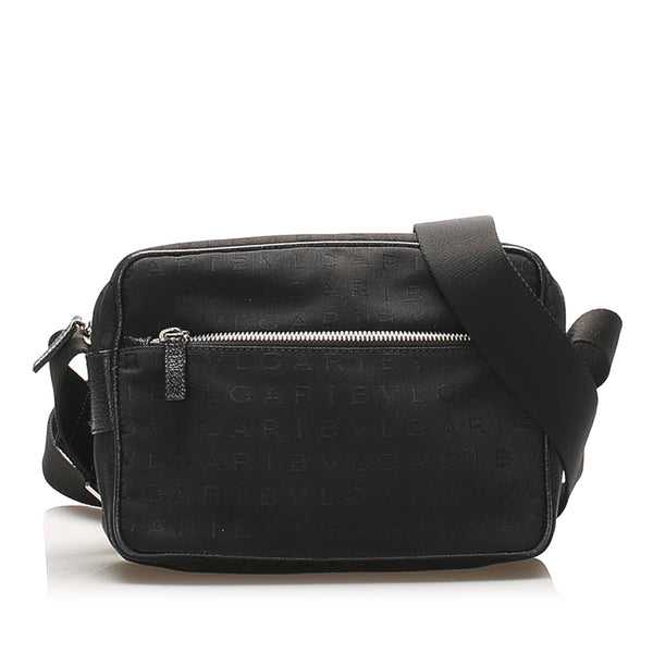 Black Bvlgari Logomania Canvas Crossbody Bag