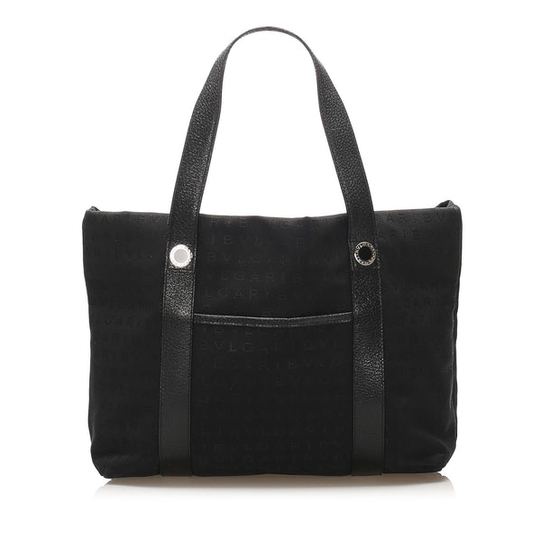 Black Bvlgari Logomania Canvas Tote Bag