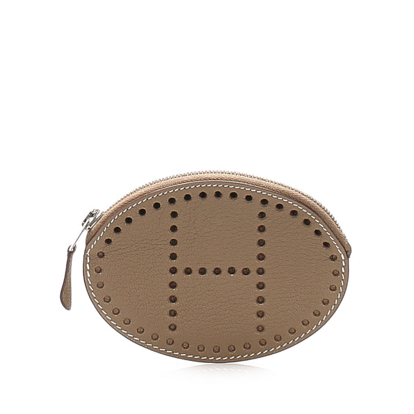Taupe Hermes Evelyn Leather Coin Pouch