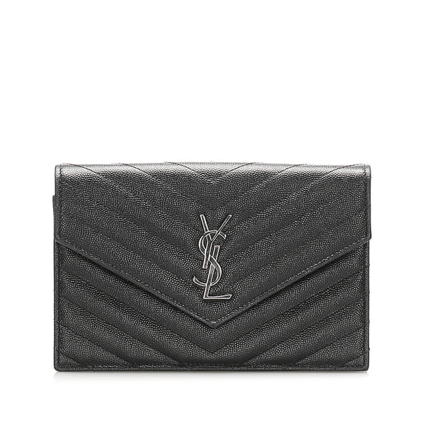Black YSL Chevron Monogram Leather Wallet on Chain