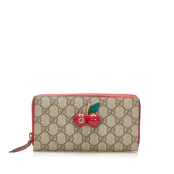 Brown Gucci GG Supreme Cherry Zip Around Wallet