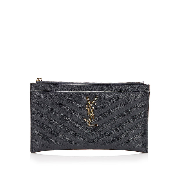 Black YSL Monogram Bill Leather Pouch