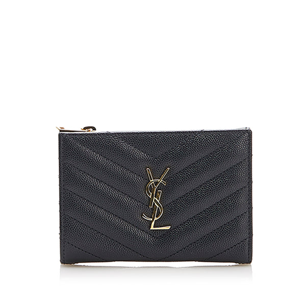 Black YSL Monogram Zip Leather Wallet