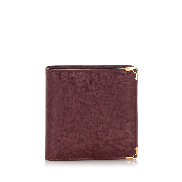 Red Cartier Must De Cartier Leather Wallet