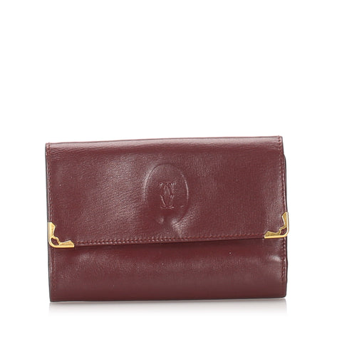 Red Cartier Must de Cartier Leather Small Wallet