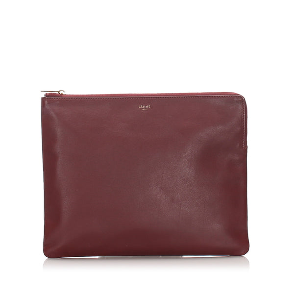 Red Celine Leather Clutch Bag