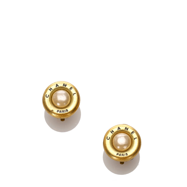 Gold Chanel Faux Pearl Button Clip-On Earrings