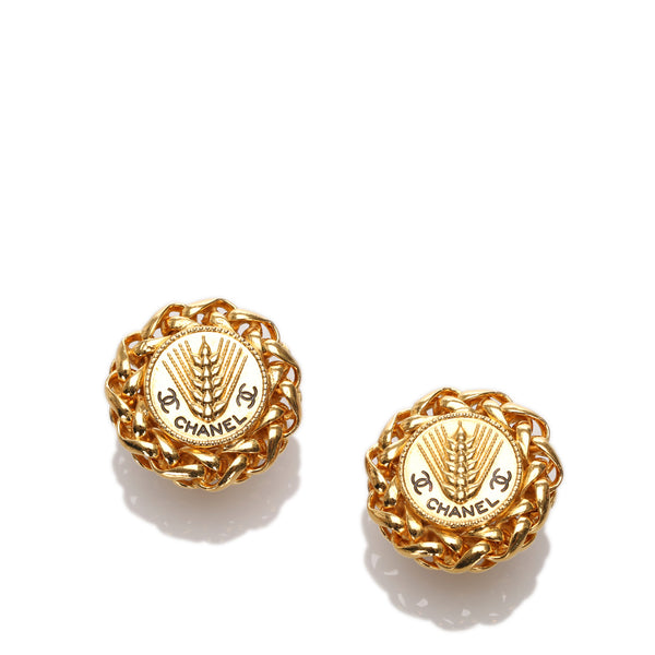 Gold Chanel Round Clip-on Earrings