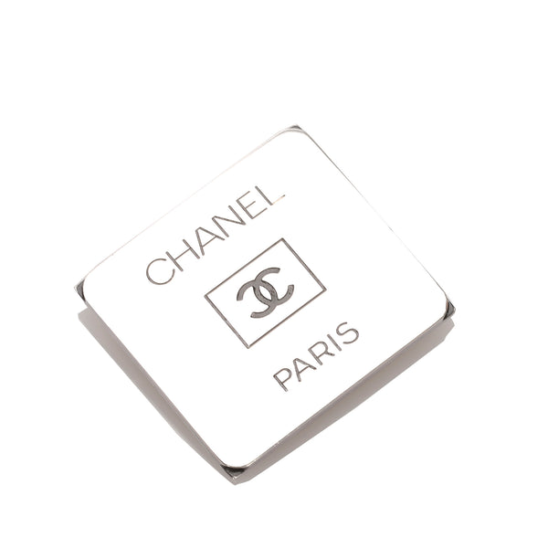 Silver Chanel CC Brooch
