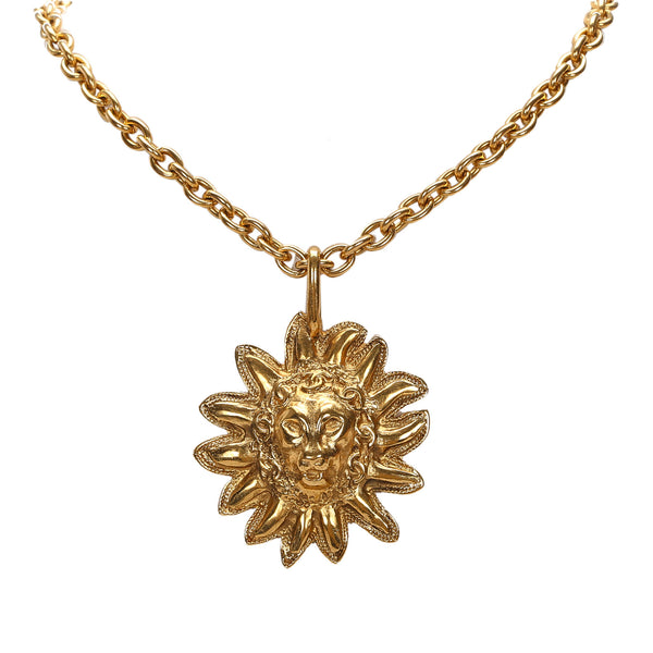 Gold Chanel Leo Lion Sun Medallion Necklace
