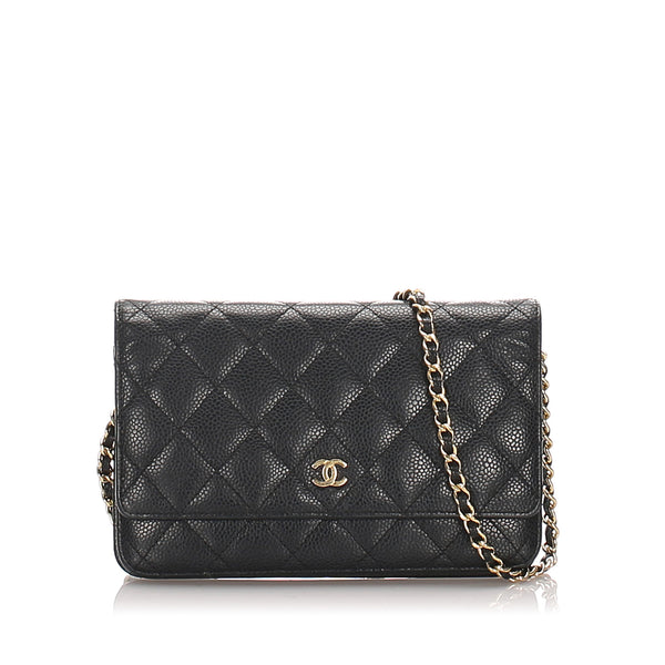 Black Chanel Quilted Caviar Wallet On Chain Bag