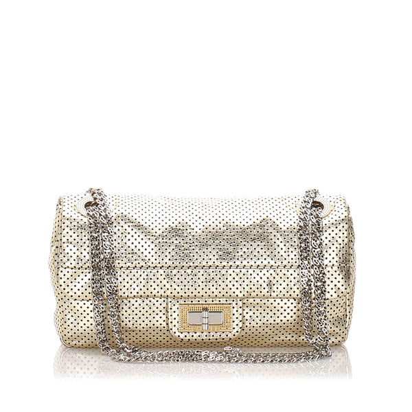 Gold Chanel Perforated Drill Leather Flap Bag