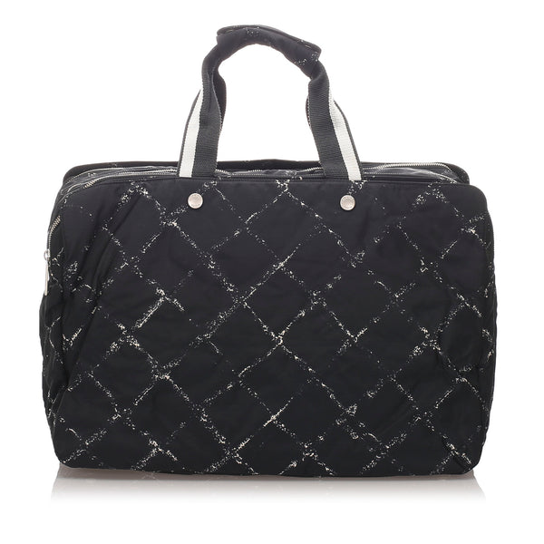 Black Chanel Old Travel Line Travel Bag