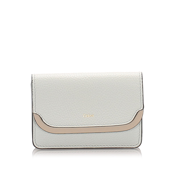 White Chloe Leather Card Holder