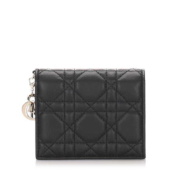 Black Dior Cannage Mini Lady Dior Compact Wallet