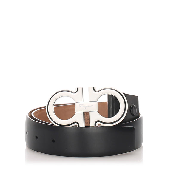 Black Ferragamo Double Gancini Leather Belt