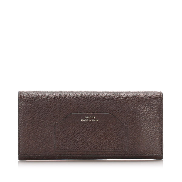 Brown Gucci Leather Long Wallet