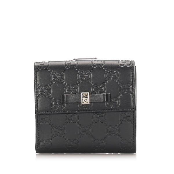 Black Gucci Guccissima Bow Signature Wallet