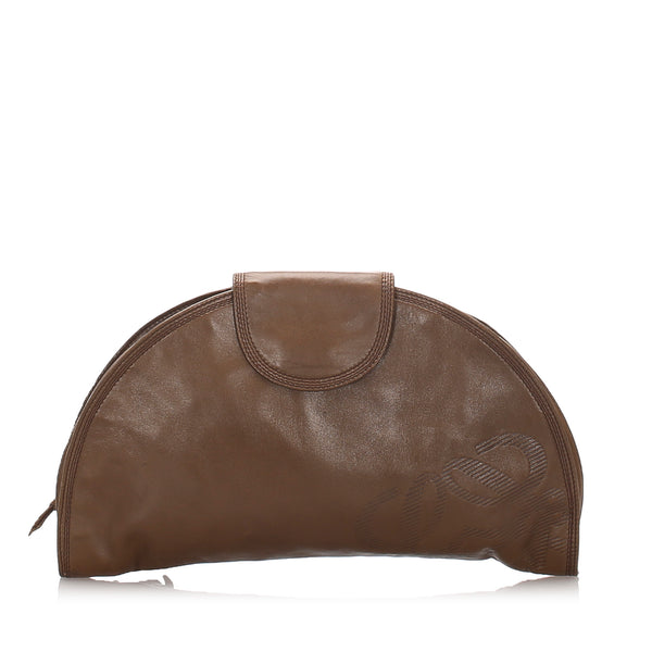 Brown Loewe Leather Clutch Bag