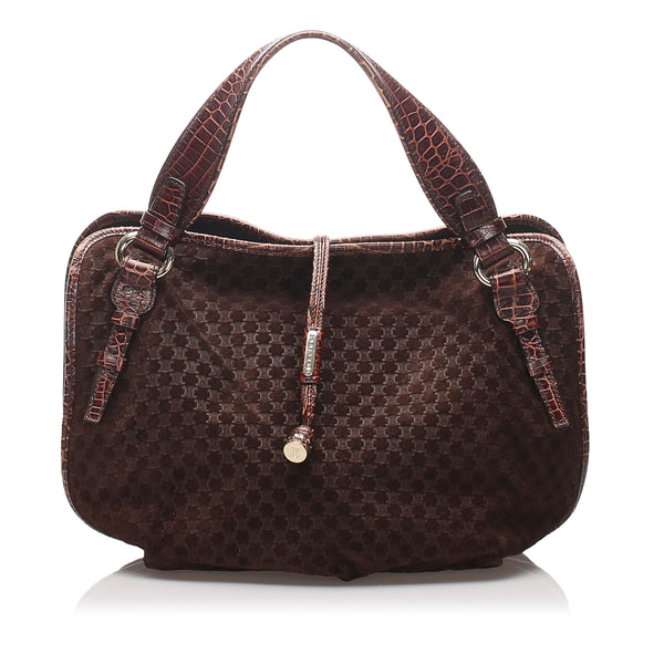 Brown Celine Macadam Leather Handbag Bag