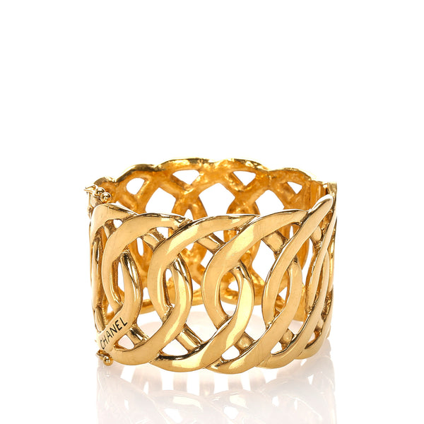 Gold Chanel Gold-Tone CC Bangle