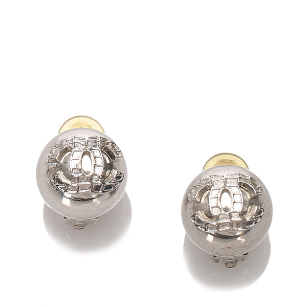 Silver Chanel CC Push Back Earrings